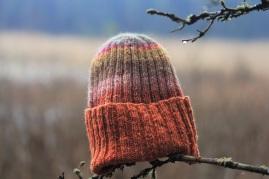 Megzta rudenėjančio miško spalvų kepurė