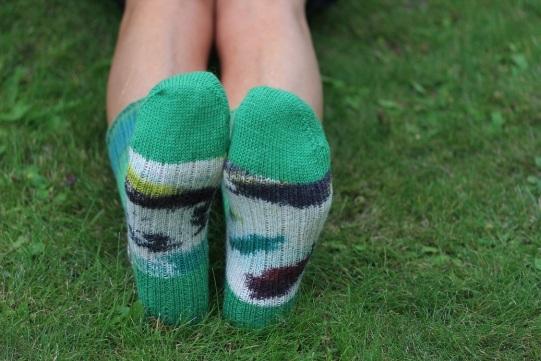 Vilnonės kojinės, įkvėptos pavasario, rankų darbo